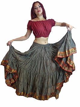 Falda de danza del vientre, tribal, Light Brown Red Black: Amazon ...