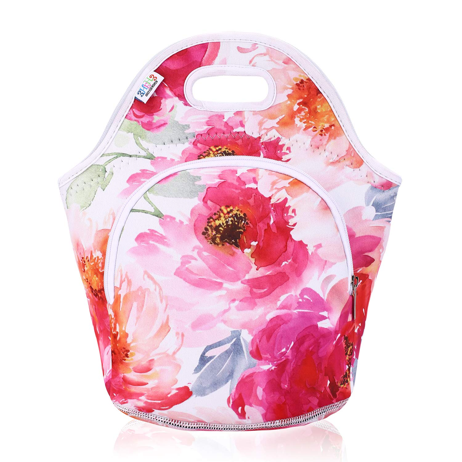 Lunch Bag for Women Girls 3HEH3 fashion Insulated Neoprene Reusable Soft Portable Lunch Tote Outside Pocket for Work School Outdoor Travel Shopping Flowers