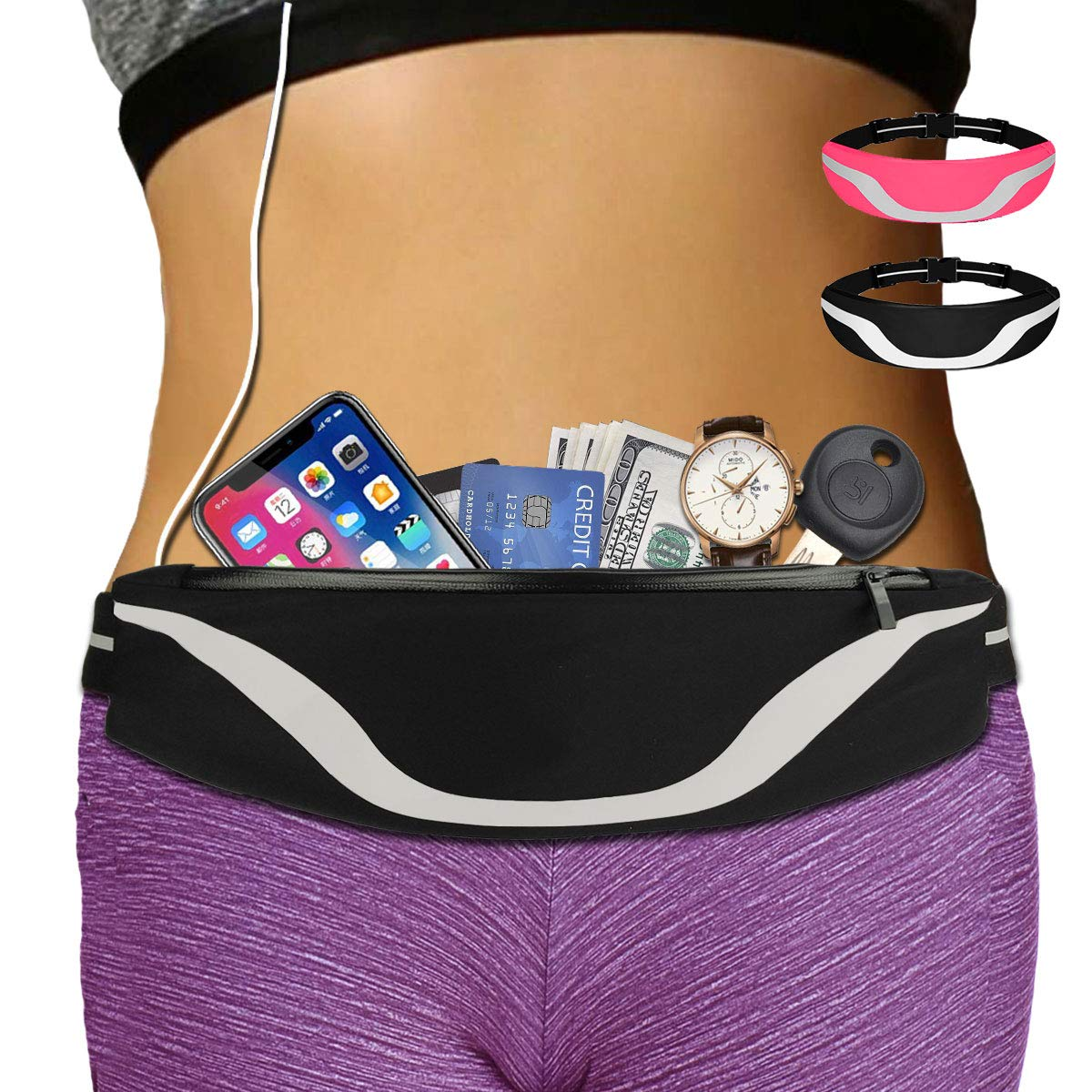 AIKENDO iPhone Running Pouch Belt 8 Plus, Adjustable Running Belt iPhone x 7 for Jogging,Workout,Travelling Fits All Phone, Running Fanny Pack for Men Women,Phone Carrier Holder for Running