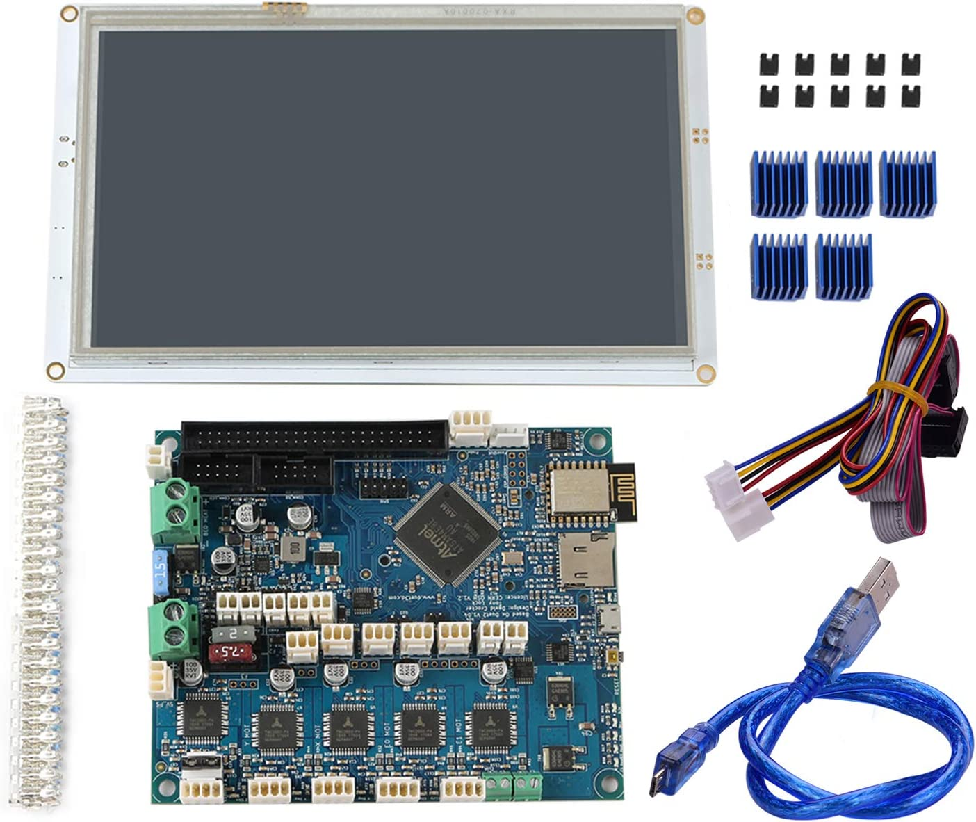 Entweg 3D Printer Parts Clone Duet 2 WiFi V1.04 Advanced 32 Bit Electronics Motherboard with 7 Inch Paneldue 7I Integrated Paneldue Colour Touchscreen Controller for Blv MGN Cube