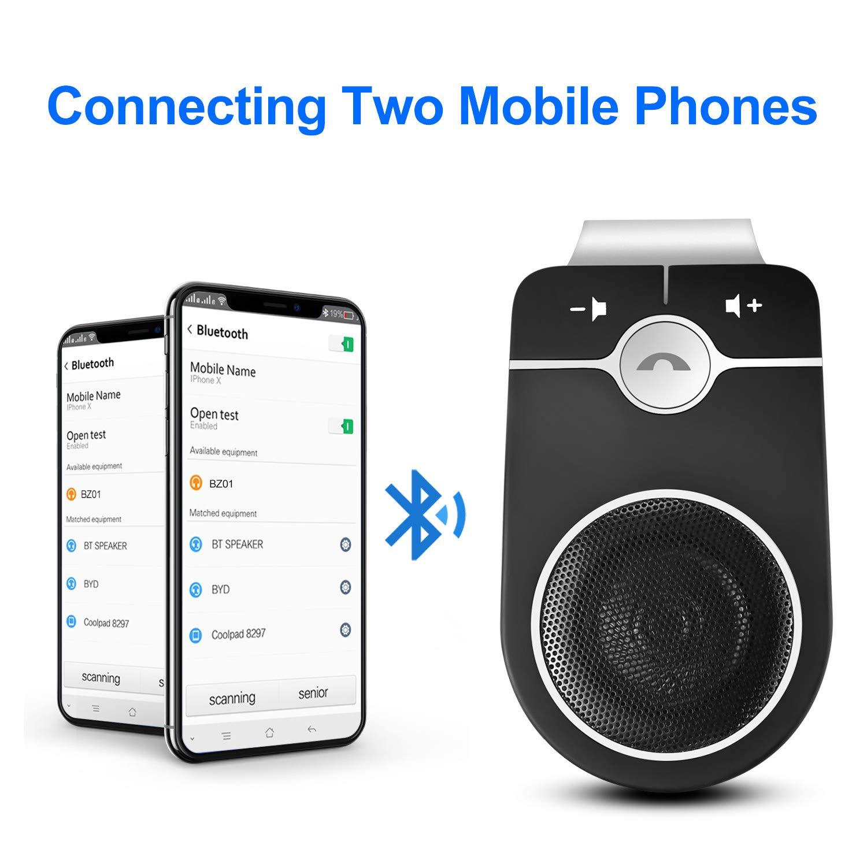 Music GPS SIRI Google Assistant auto Bluetooth Car Speakerphone for Smartphone Wireless car bluetooth speaker for car kit with auto Power On Motion Sensor SZBAYO handsfree Bluetooth car Kit MUTE