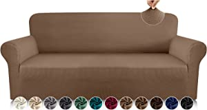 Luxurlife Premium Thickened Sofa Covers for 3 Cushion Couch 1-Piece High Stretch Couch Cover Sofa Slipcover for Pets Furniture Protector with Unique Checkered Pattern Spandex Fabric (Large, Camel)
