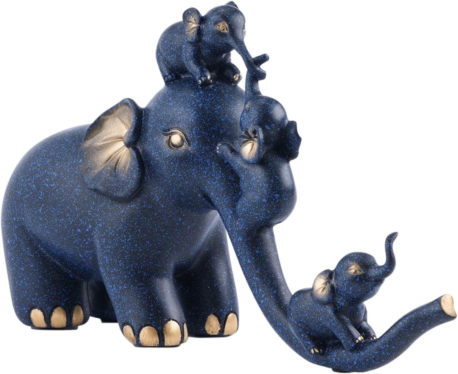 HomeZen Elegant Blue Elephant Decor, Elephant Statue, Elephant Figurines, Elephant Statues Home Decor, Elephant Decorations for Home, Elephants Home Decoration, Elephant Gifts for Women