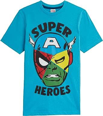 Marvel Camiseta Niño, Camisetas Niño Manga Corta de Los Vengadores Iron Man Capitan America Hulk y Spider Man, Ropa Niño 100% Algodon, Regalos para Niños y Adolescentes