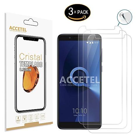 Accetel Alcatel 3X Protector Cristal Templado 3 x Protector de Pantalla Vidrio Templado para Alcatel 3X