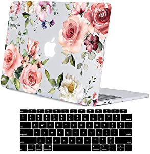 Lapac MacBook Air 13 Inch Clear Case 2020 2019 2018 Release A2337 M1 A2179 A1932, Flower Soft Touch Hard Shell Case & Retina Display Fits Touch ID with Keyboard Cover, Watercolor Pink Roses Floral