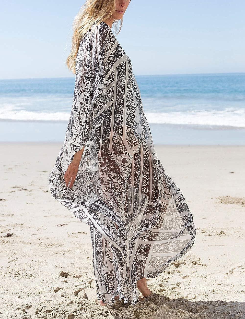 Bsubseach Women Bathing Suits Cover Up Ethnic Print Kaftan Beach Maxi Dress