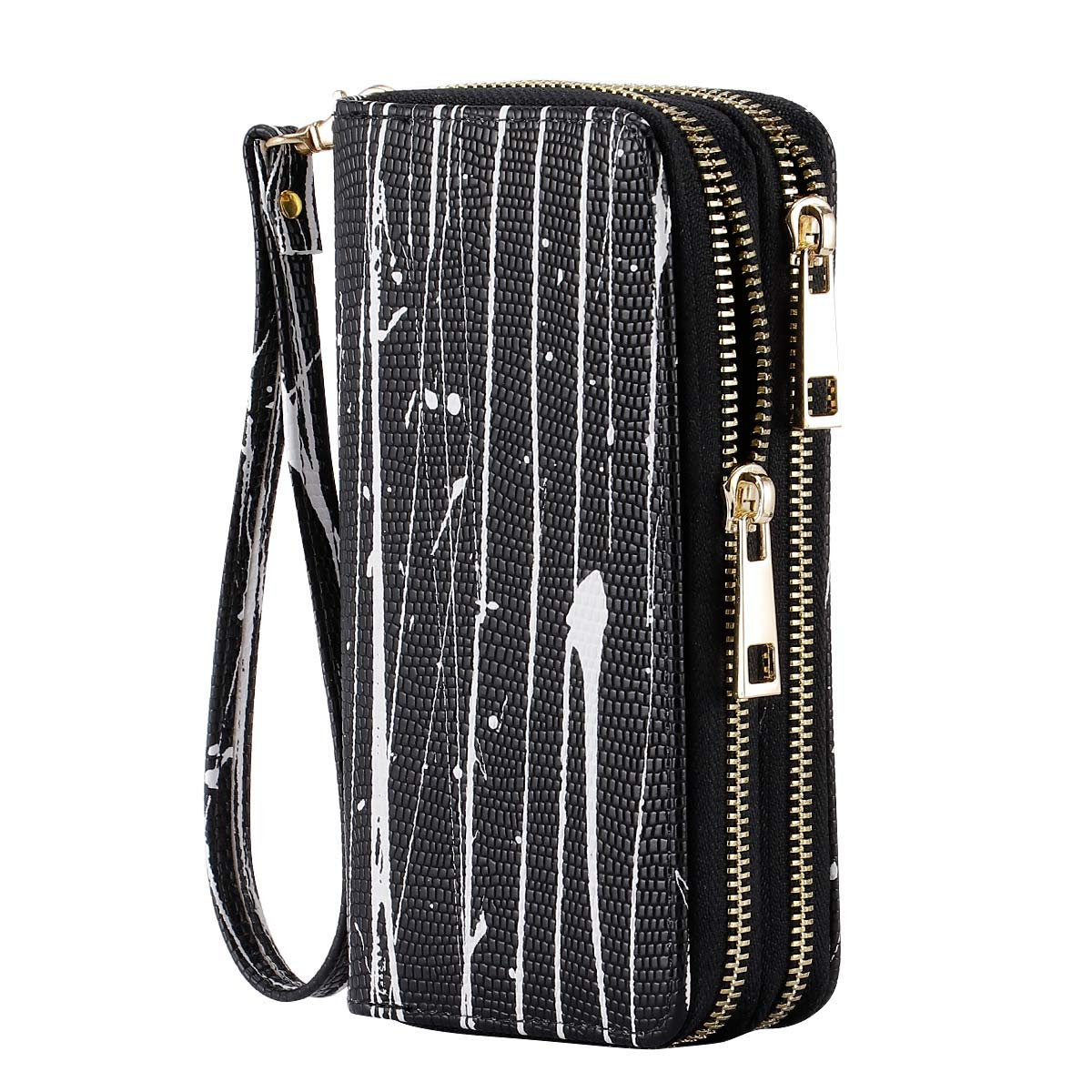 HAWEE Cellphone Wallet Dual Zipper Wristlet Purse with Credit Card Case/Coin Pouch/Smart Phone Pocket Soft Leather for Women or Lady, Graffiti Black