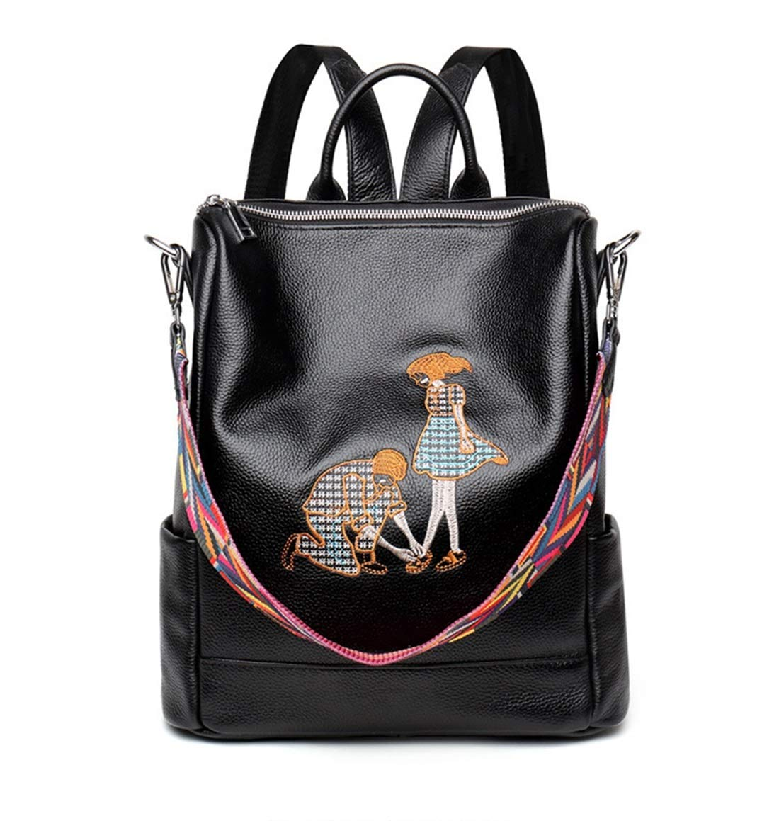 Vergeania レディース刺繍プリントバックパック大容量ポータブルハンドバッグショルダートートバッグ用女の子バックパック (色 : 黒) B07S2GBJ65 黒
