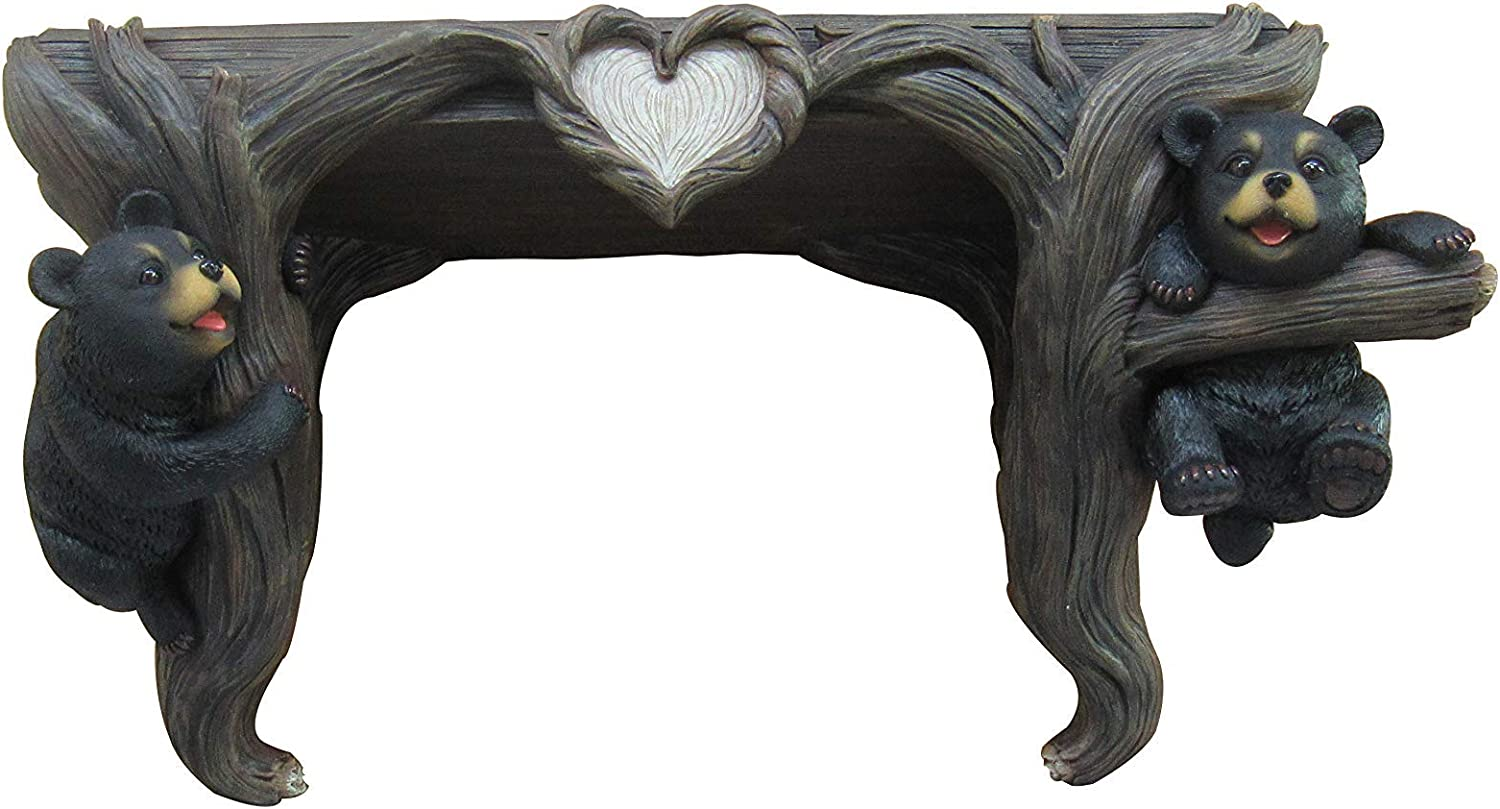 DWK Wood Love to Hang Out Black Bear Cubs in Tree   Rustic Cabin Décor Floating Shelf   Black Bear Welcome Outdoor Décor   Wall Art   Black Bear Welcome Statue 13.5-inch