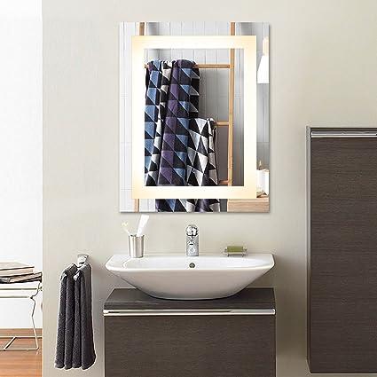 amazon com co z wall mounted led mirrors modern led lighted rh amazon com bathroom vanity mirror wall mount