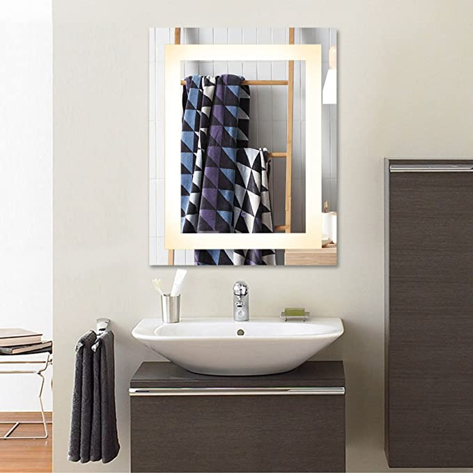 CO-Z Wall Mounted LED Mirrors, Modern LED Lighted Bathroom Mirror, Dimmable Rectangle Touch Wall Mirror with Dimmer & Lights, Contemporary Light Up Bathroom Vanity Mirror with Lights (24 x 30 Inch)