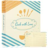 """Recipe Binder Kit with Cards - 3 Ring Full Page Recipe Book Binder 8.5""""x11"""", 60 4X6 Recipe Cards, Card Protectors, Dividers a"""