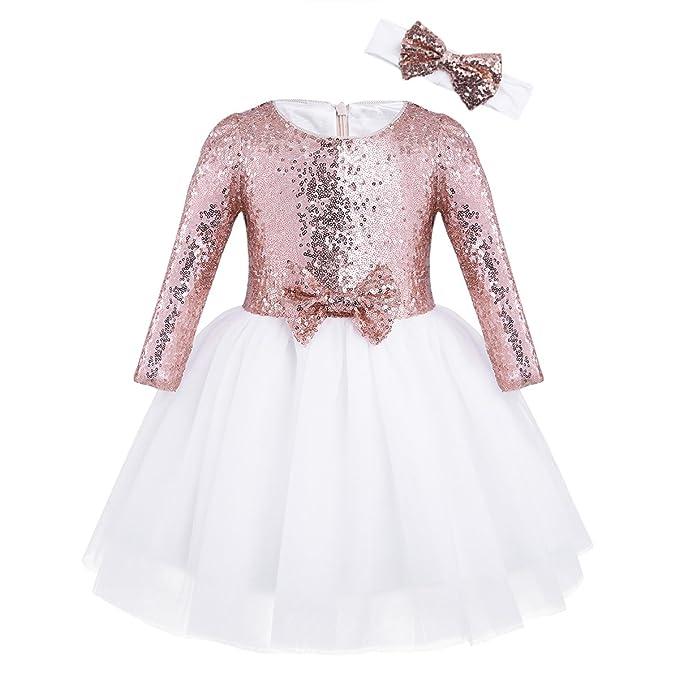 iEFiEL Vestido Brillante de Fiesta Bautizo Niña Disfraz de Princesa Traje de Ceremonia Actuación Bebé Niña