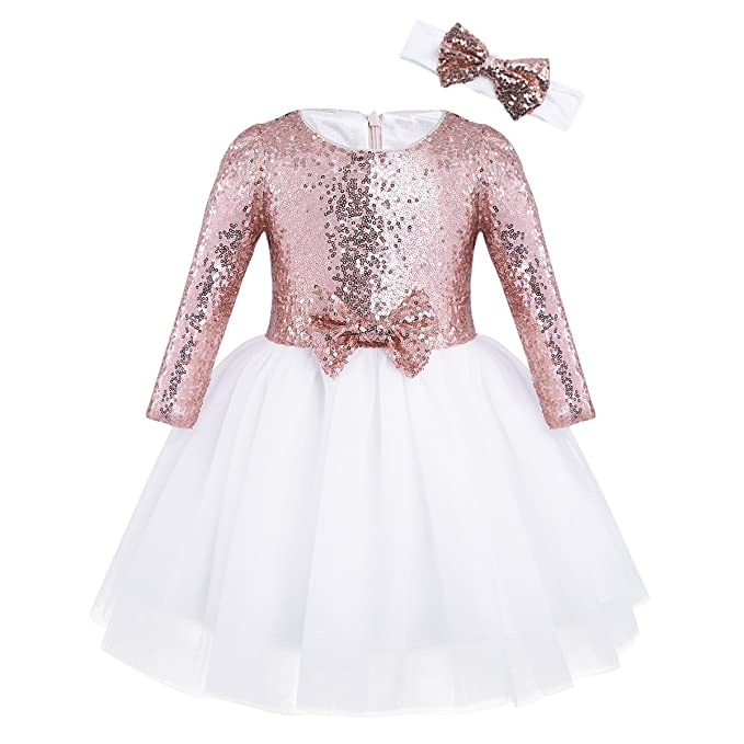 YIZYIF Vestidos Niñas Con Lentejuelas Elegante Vestido Princesa de manga Larga de fiesta para bodas Blanco