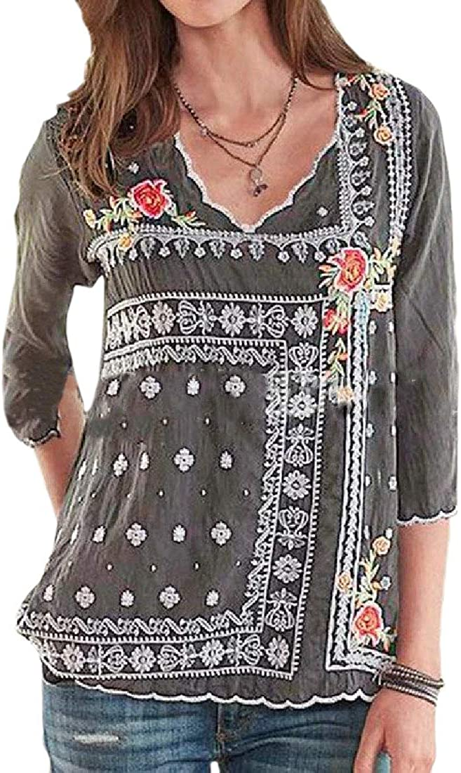 pujingge Womens V Neck Boho Print 3//4-Sleeve Floral Embroidery T Shirt Tops
