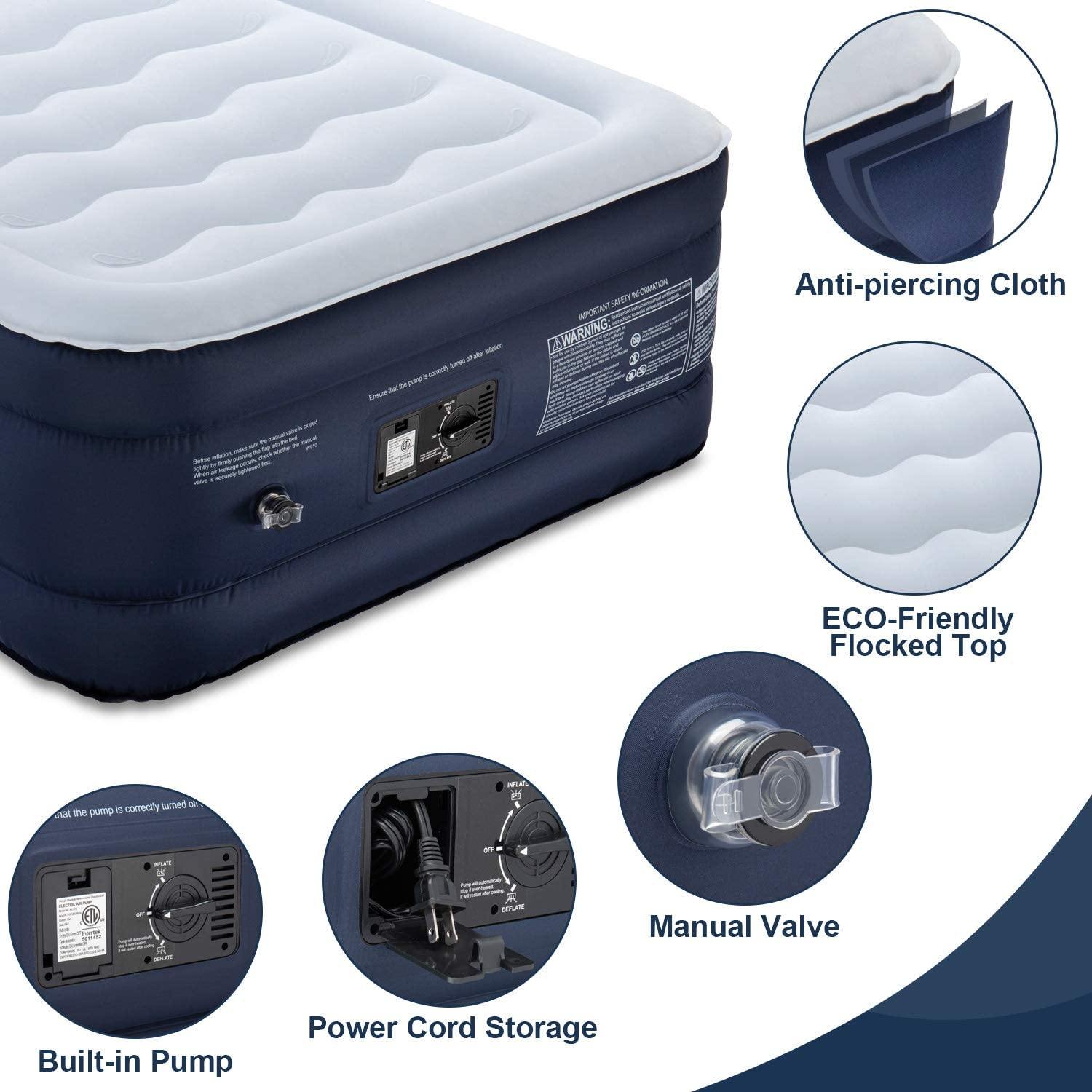 OlarHike Telsony Twin Air Mattress with Built-in Pump Puncture-Resistant Blow up Inflatable Mattress with Comfort Flocked Top Travel-78x40x18inches 18 High Airbed for Guests Camping