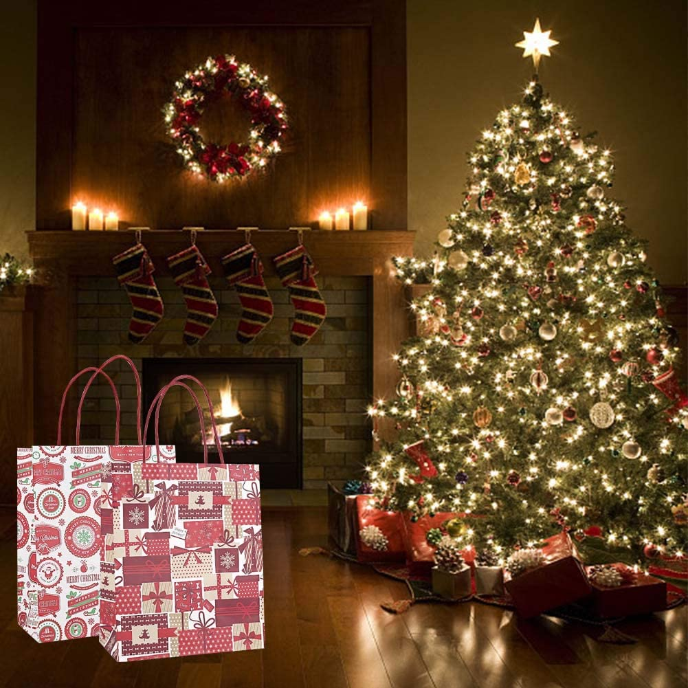 Wedding Business Party Merchandise A Christmas Paper Bags with Handle,8 Pcs Kraft Paper Bag Holiday Party Gift Favor Treats Bags Durable Gift Wrapping Bags for Shopping Gifts Craft Fair