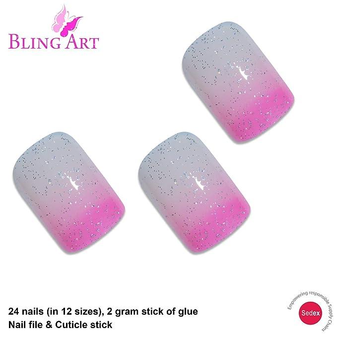 Uñas Postizas Bling Art Rosado Gel 24 Squoval Medio Falsas puntas acrílicas con pegamento: Amazon.es: Salud y cuidado personal