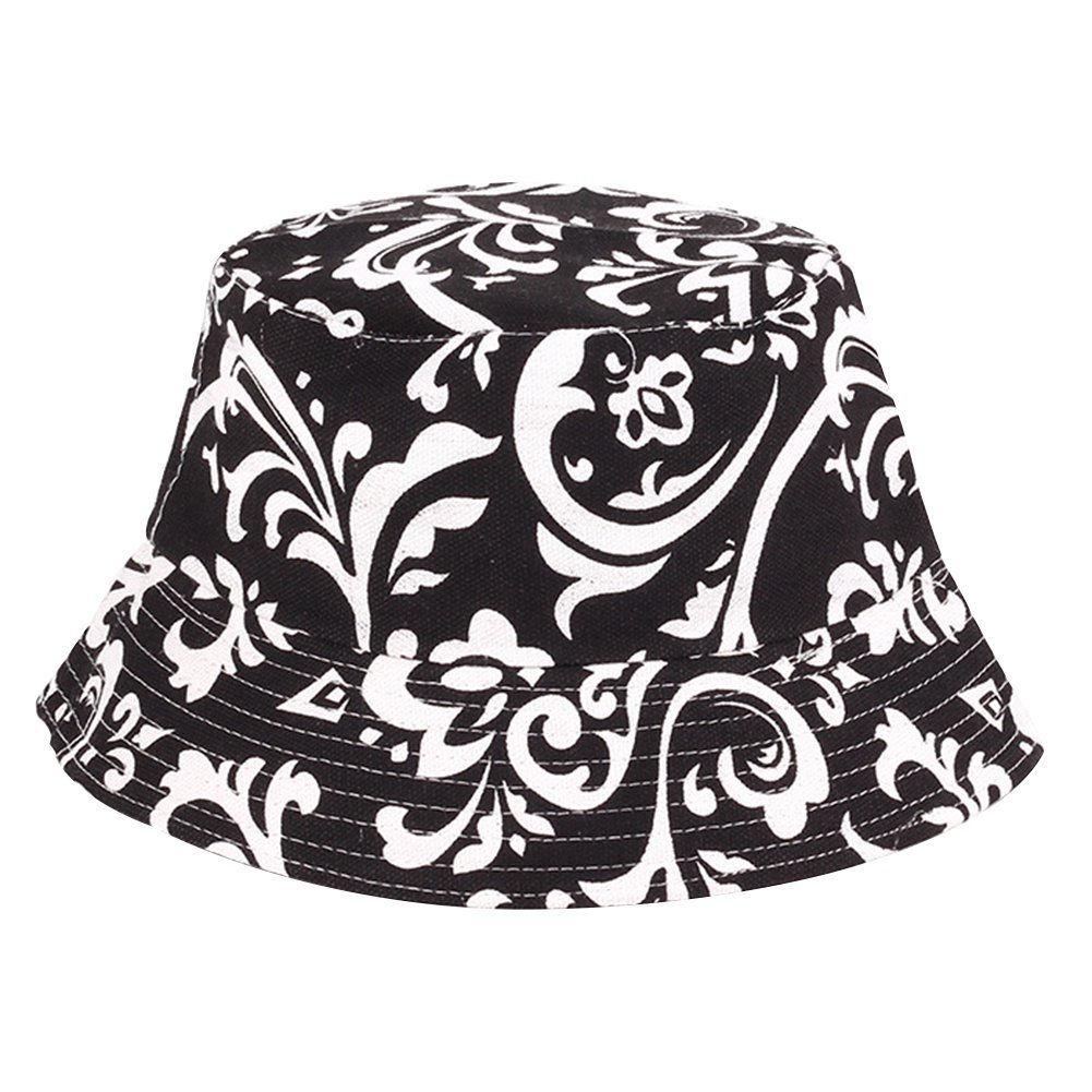 MSYOU Cotton Bucket Hat Creative Printing Summer Foldable Sun Hat Women Girls Outdoor Hats for Beach Fishing Shopping Travel Hiking