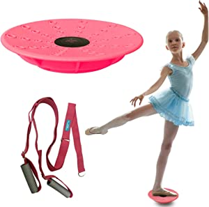 Leg Stretching Strap and Ballet Balance Board, 2 Pc. Set, Stretching, Disc Core Trainer and Flexibility Equipment for Dance, Gymnastics, Cheer or Figure Skating, Portable