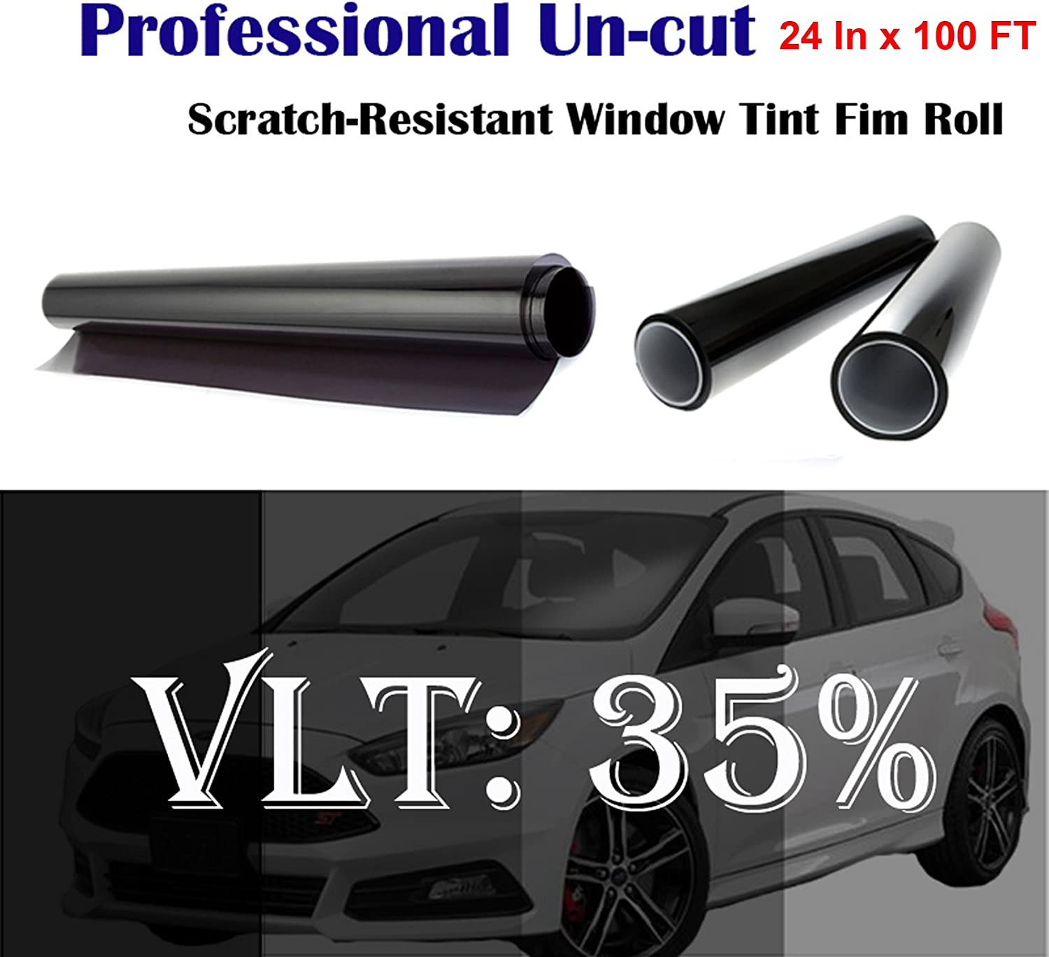 """Mkbrother Uncut Roll Window Tint Film 35% VLT 24"""" in x 100' Ft Feet Car Home Office Glasss"""