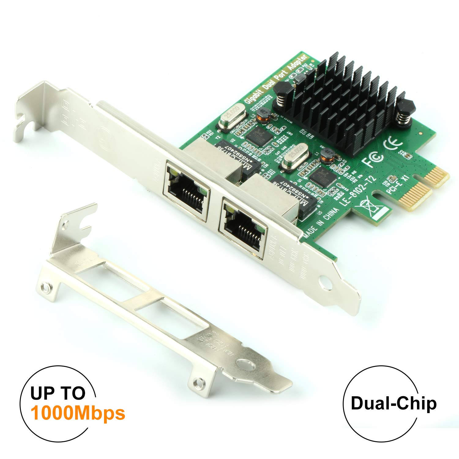 Ubit RJ45 x 2 Gigabit LAN,Gigabit Ethernet PCI Express PCI-E Network Controller Card,10/100/1000mbps,Dual Port PCIE Server Network Interface Card, LAN Adapter Converter for Desktop PC by Ubit