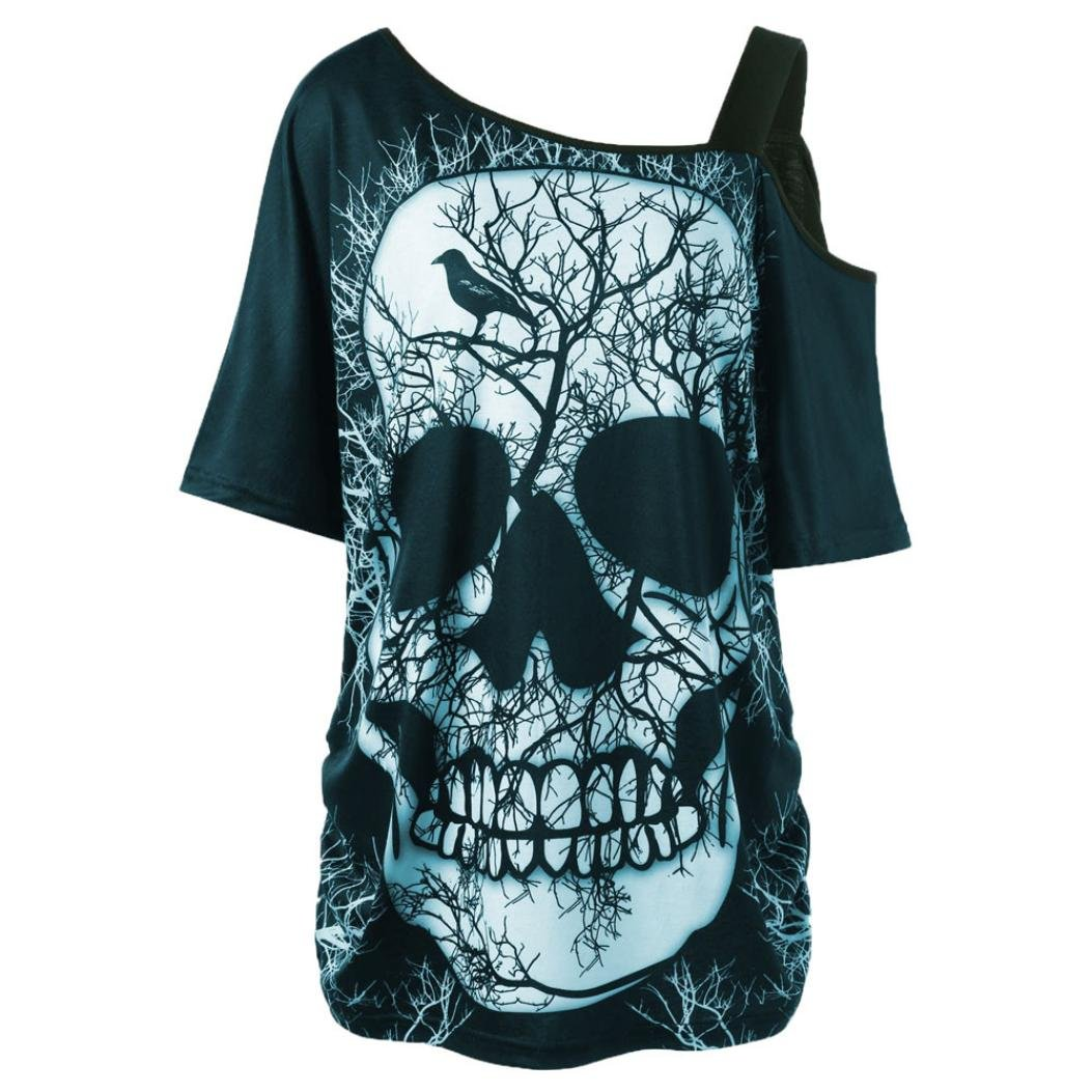 BCDshop Women Skull Short Sleeve Shirt Skew Collar One Cold Shoulder Top Blouse (Green, US Size S(Chest 36.2'')) by BCDshop