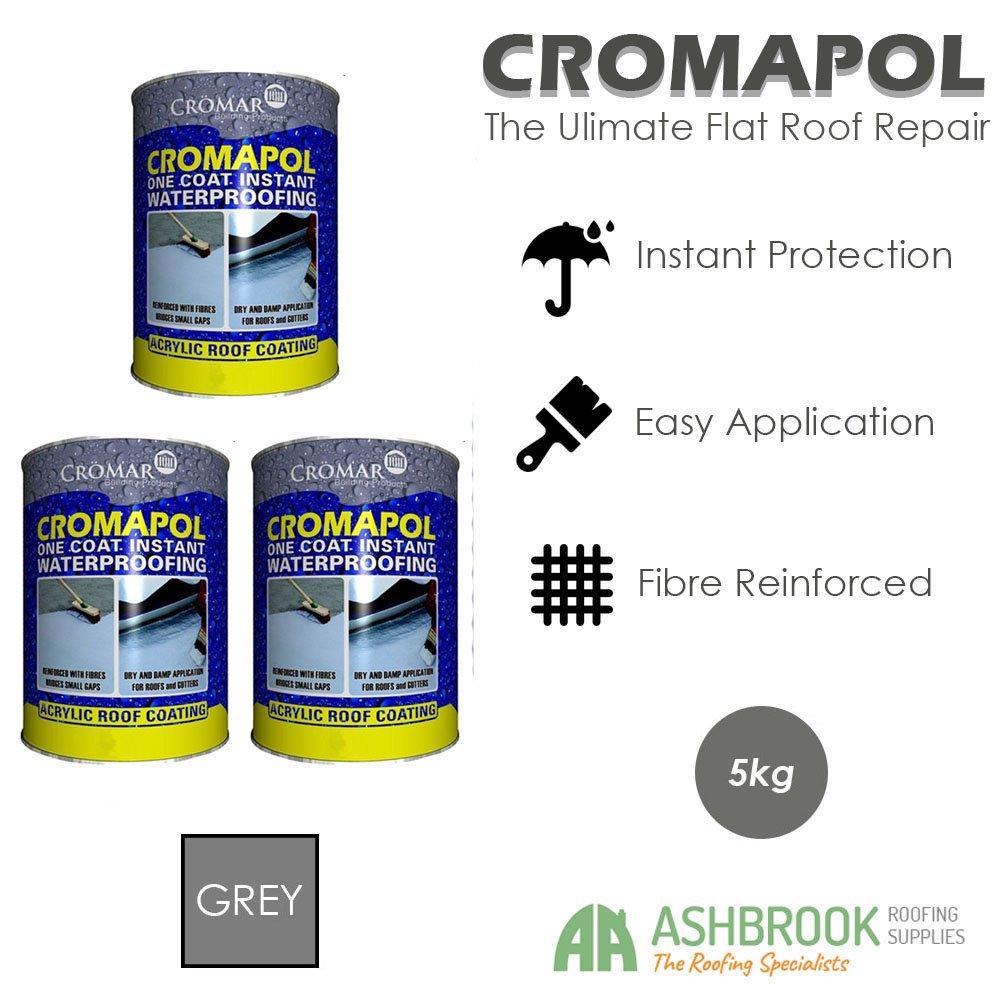 Cromapol | Acrylic Roof Coat | Fibre Reinforced | Roof Paint | Roof Sealant | Grey | 3 x 5kg Cromar