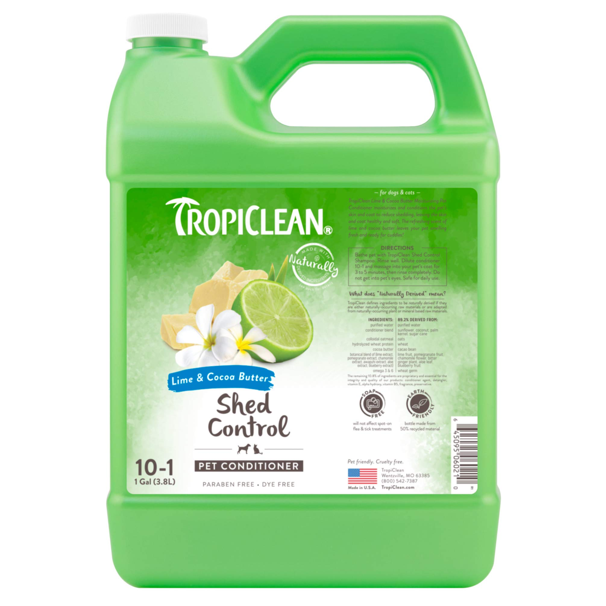 TropiClean Lime & Cocoa Butter Conditioner for Pets, 1 gal, Made in USA by TropiClean