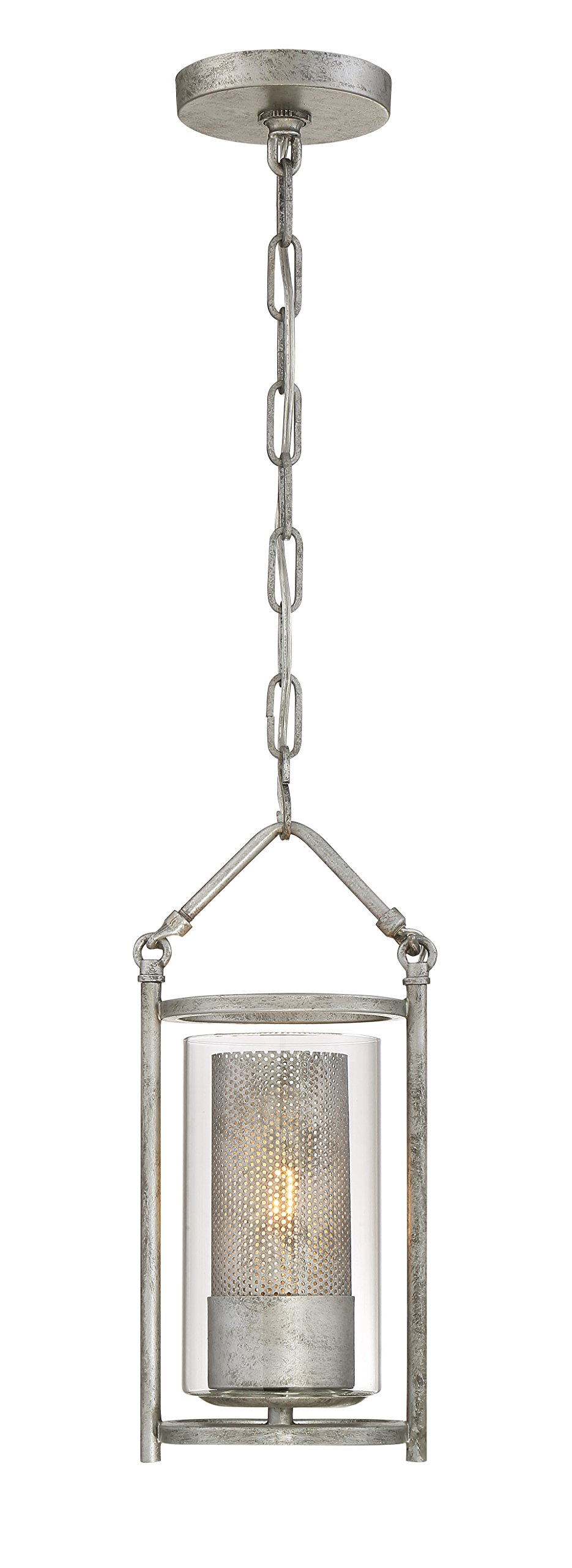 Jackson 1-Light Mini Pendant - Antique Silver Finish with Recycled Arched Window Pane Glass Shade
