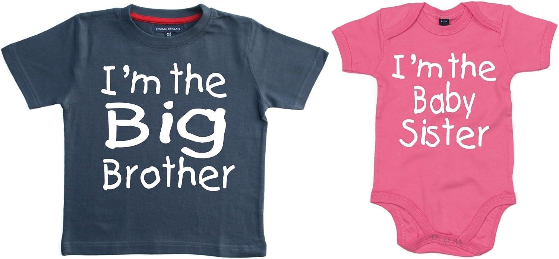 """lingua inglese Set di maglietta e body coordinati /""""I/'m the big brother/"""" e /""""I/'m the baby sister/"""""""
