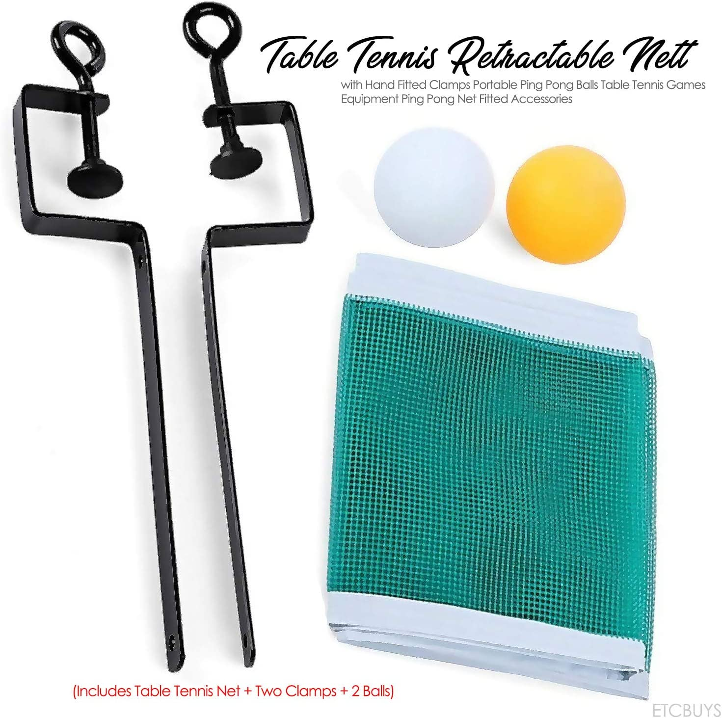 Includes Table Tennis Net + Two Clamps + 2 Balls ETCBUYS Table Tennis Retractable Net with Hand Fitted Clamps Portable Ping Pong Balls Table Tennis Games Equipment Ping Pong Net Fitted Accessories