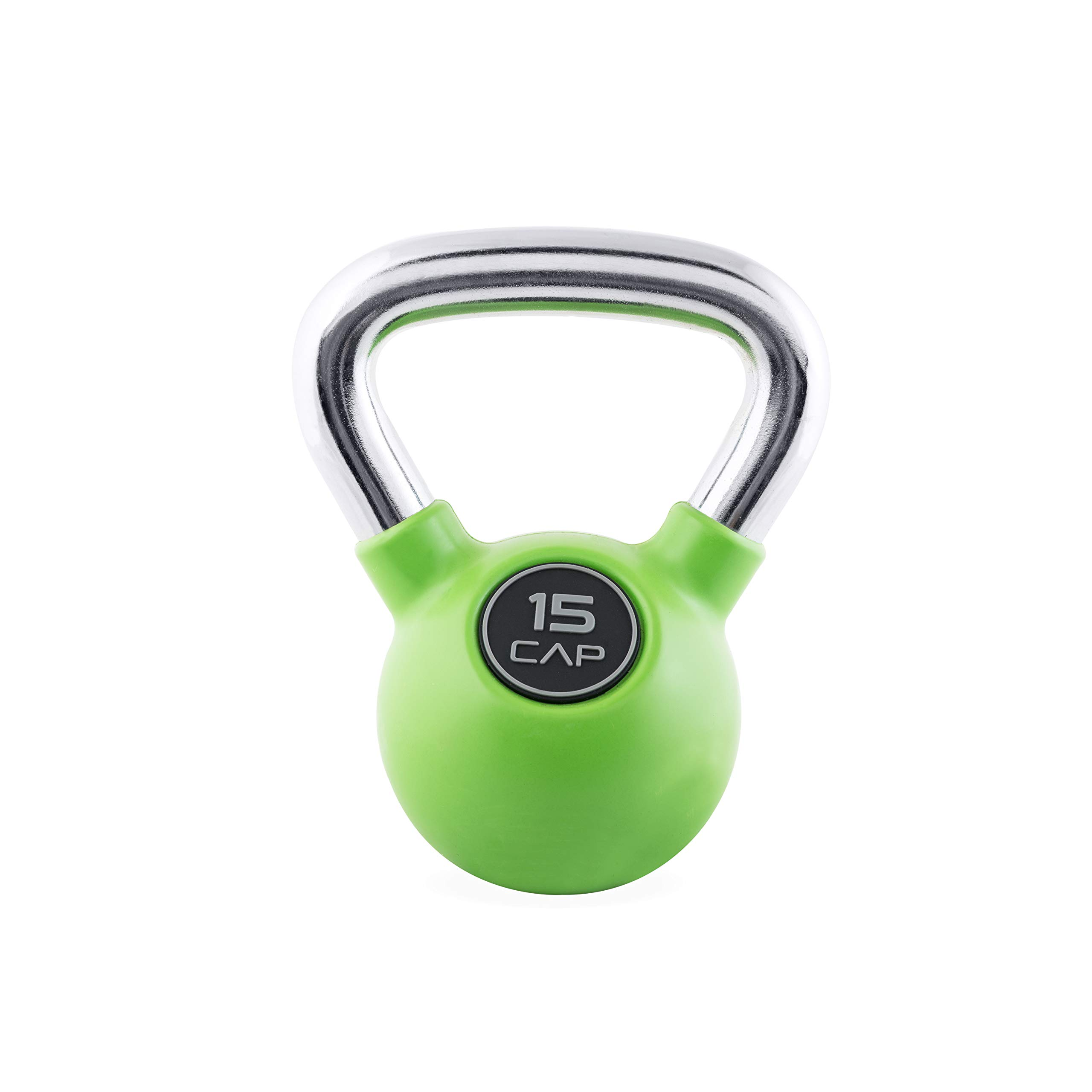 CAP Barbell Colored Rubber Coated Kettlebell with Chrome Handle, 15 lb