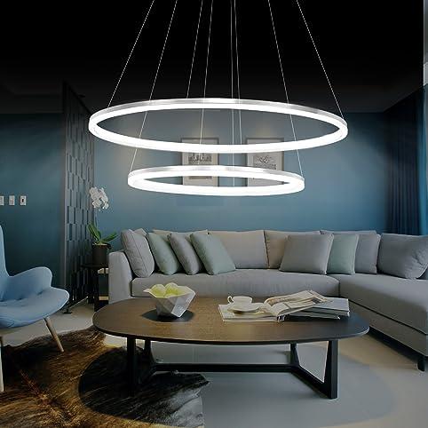 KJLARS Modern Pendelleuchte Hängelampe 2- LED-Ring Hängeleuchte ...