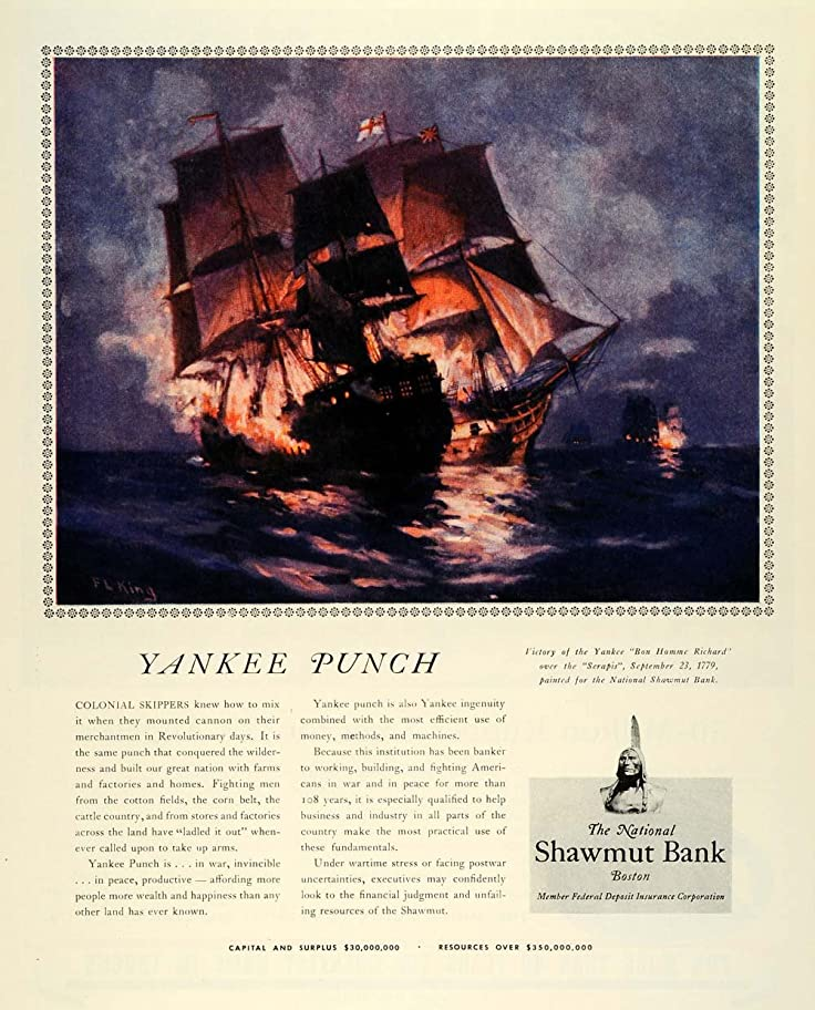 Amazon 1944 Ad National Shawmut Bank Uss Bonhomme Richard