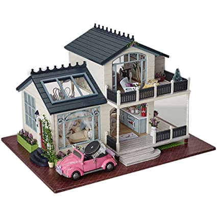 CuteBee Dollhouse Miniature With Furniture, DIY Wooden DollHouse Kit Plus  Music Movement, 1: