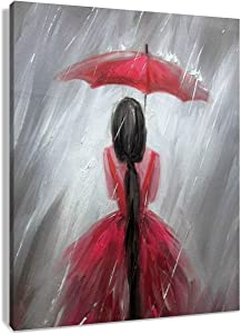 HVEST Red Umbrella Canvas Wall Art-Elegant Girl Wear Beatiful Dress in Rain Artwork Black and White Painting for Living Room Bedroom Bathroom Decor,Stretched and Framed Ready to Hang,12x16 inches