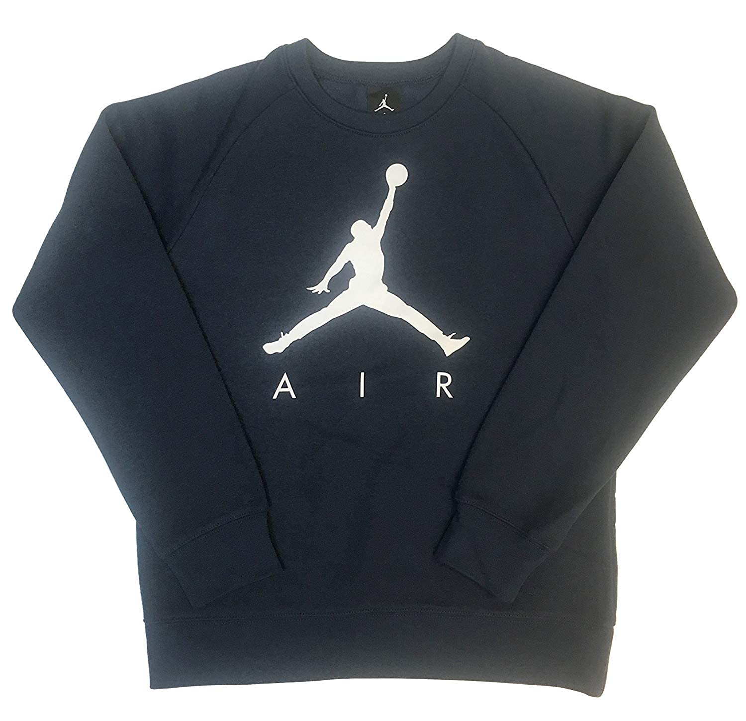 06d8a1c4d79bb0 New Nike Mens Jordan Jumpman AIR Fleece Crew Sweatshirt Light Bone  Black  All Siz