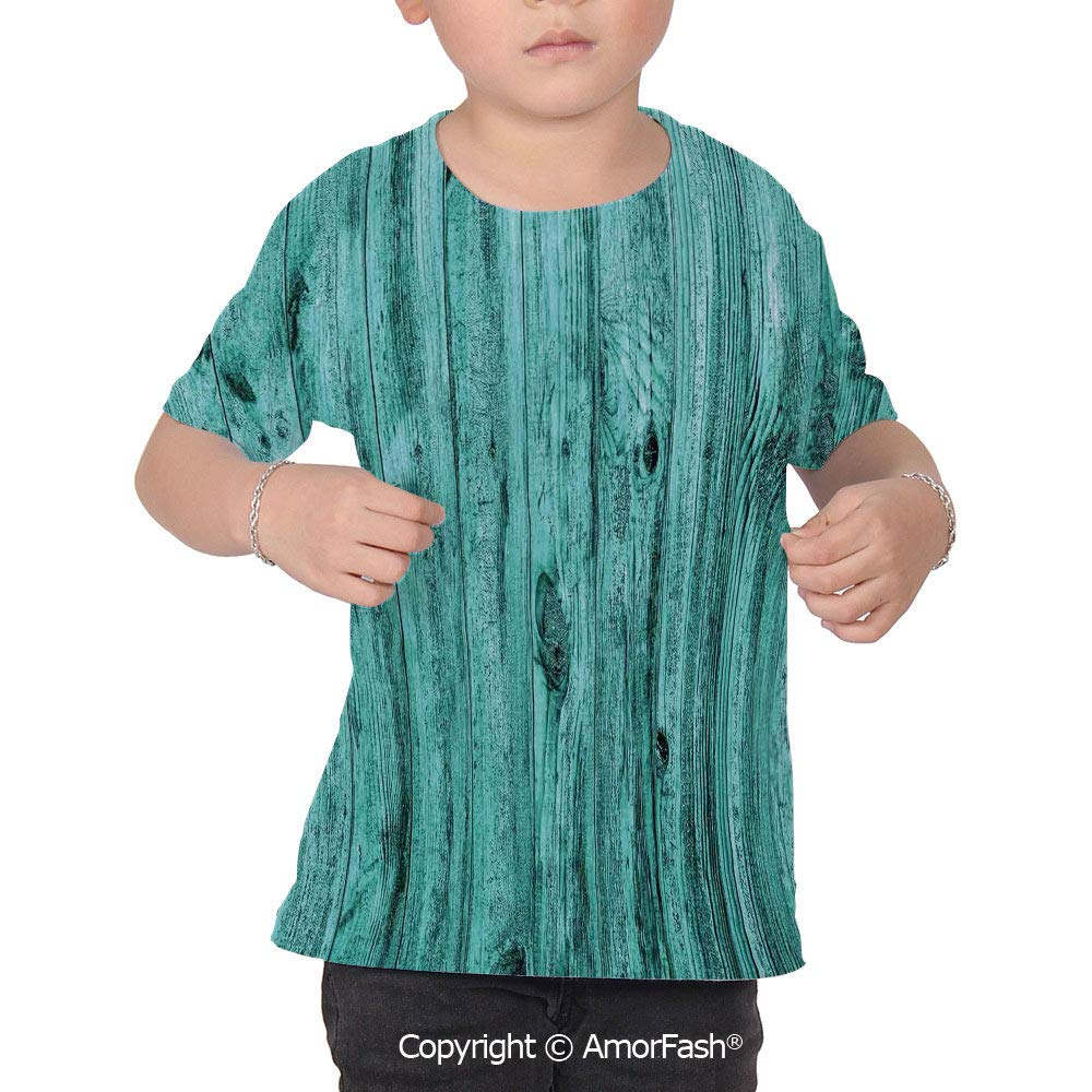 Turquoise Decor Over Print T-Shirt,Boy T Shirt,Size XS-2XL Big,Wall of Turquoise