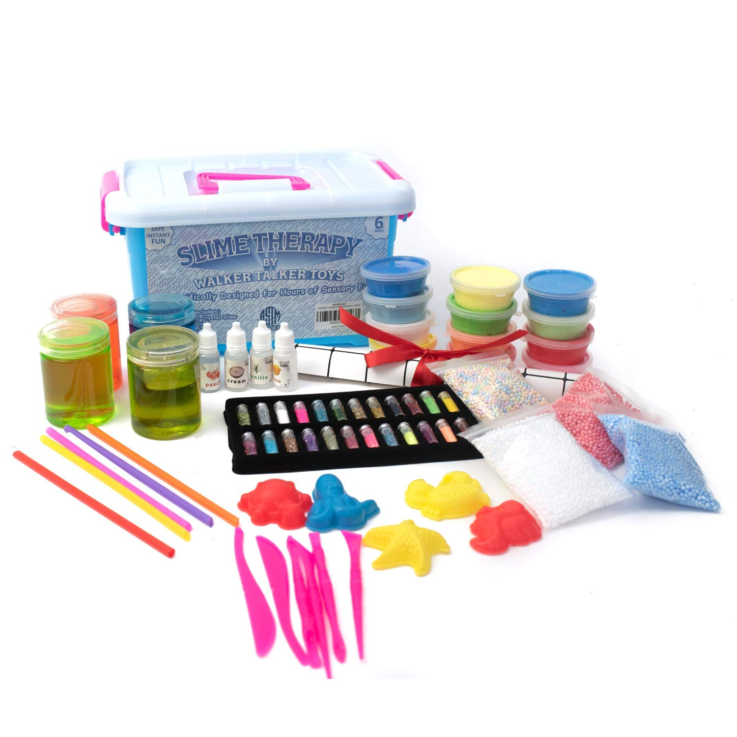 Slime Therapy Kit - Crystal Slime, Foam Slime, Magic Sand, Air Dry Clay, Accessories, Macaroon Foam Balls, Tool Sets, Glitters, Fragrances, Molds, Straws, Work Area Mat, Art Craft, Kids 6 and Older by Walker Talker Toys