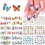 Comdoit Butterfly Nail Art Stickers Water Transfer Nail Decals Flowers Butterfly Designs for Nails Supply Watermark DIY…