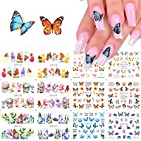 Butterfly Nail Art Stickers Flowers Butterfly Designs Nail Water Transfer Decals Tattoo Nail Art Tips Charms Sliders Full Nail Wraps Foils Butterfly for Nails Designs Manicure Nail Decoration