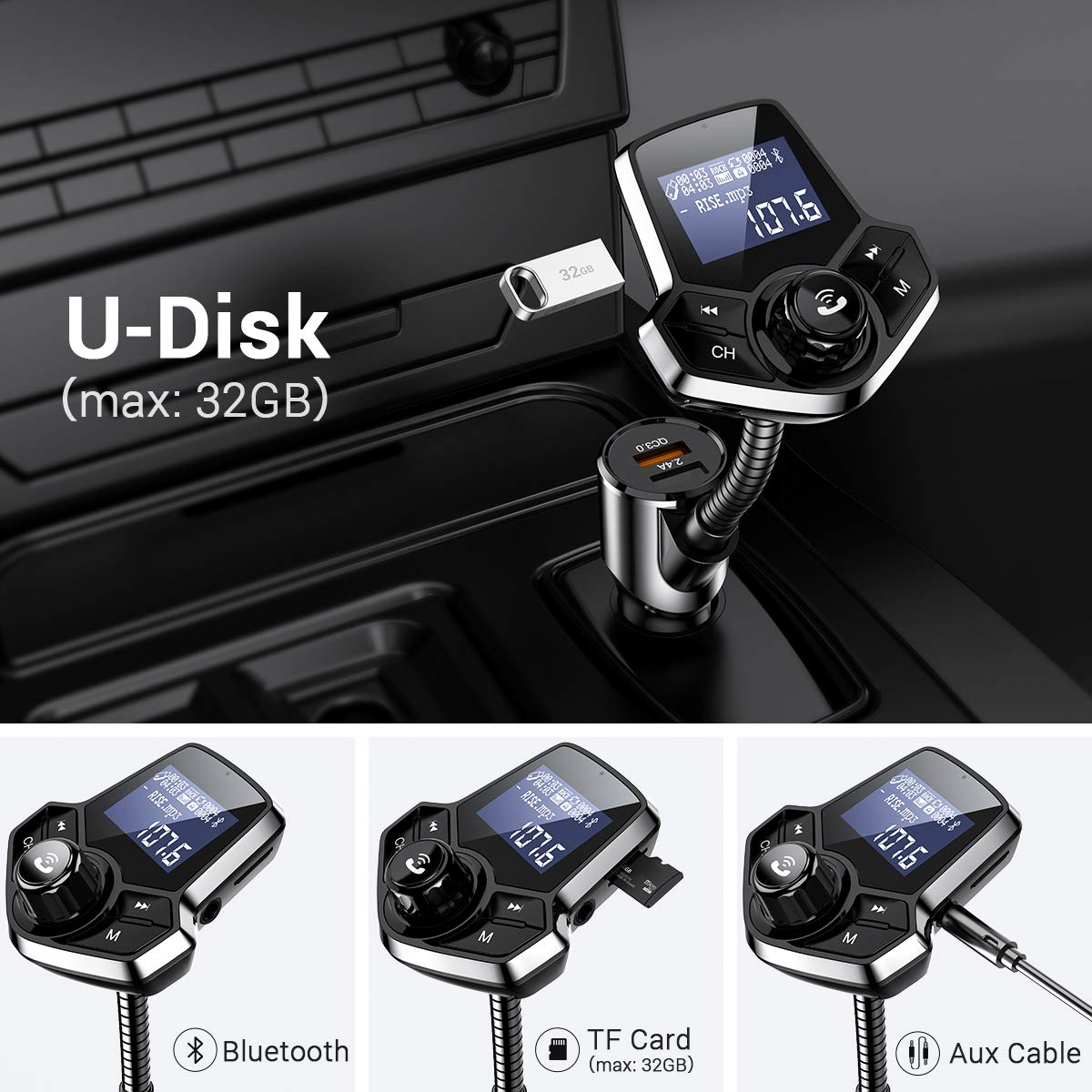 Bluetooth FM Transmitter for Car, QC3.0 Fast Charger Fm Transmitter Bluetooth, Wireless Car Audio Adapter Hands-Free Kit with 1.44'' Display for AUX Input/Output, TF Card and U Disk by Ainope by Ainope (Image #3)