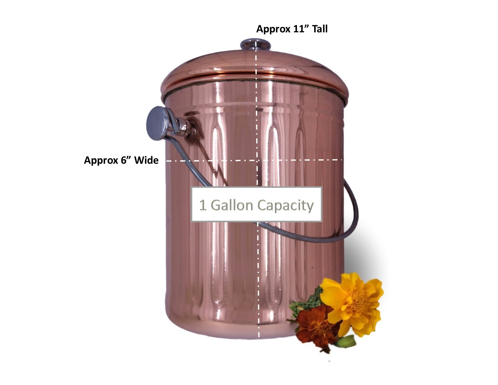 Compost Pail Bin Bucket for Indoor Kitchen Countertop - Copper Coated Stainless Steel 1 Gallon - BONUS Includes 2 Sets of Dual Charcoal Filters by Goldsol Brands (Image #3)