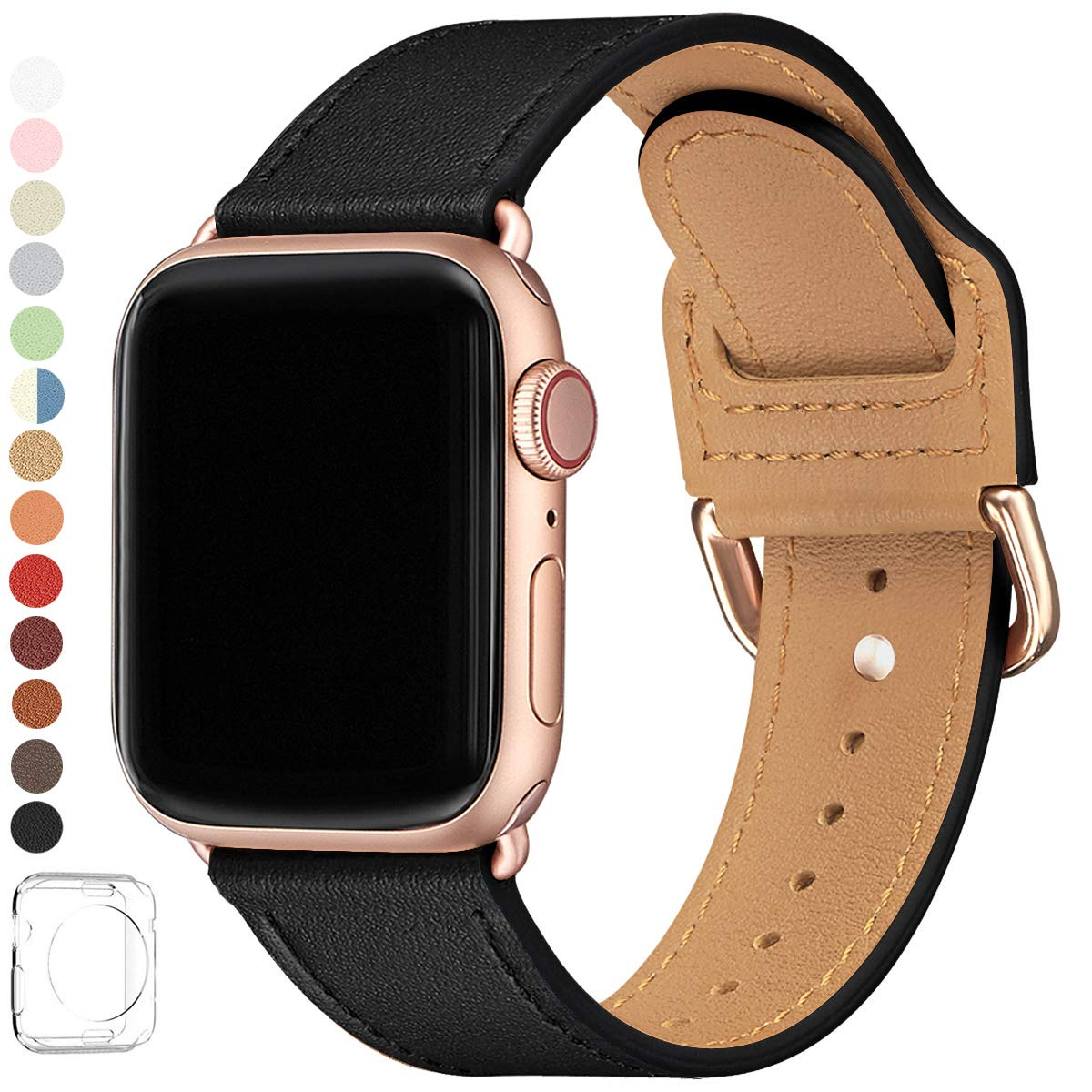 LOVLEOP Bands Compatible with Apple Watch Band 38mm 40mm 44mm 42mm, Top Grain Leather Watch Strap for iWatch Series 5 Series 4 Series 3 Series 2 Series 1 (Black+Rose Gold Connector, 38mm 40mm) by LOVLEOP