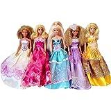 Elviros 100% Handgemachtes Barbie Puppen Kleid (Zufallsauswahl) 5 Stück