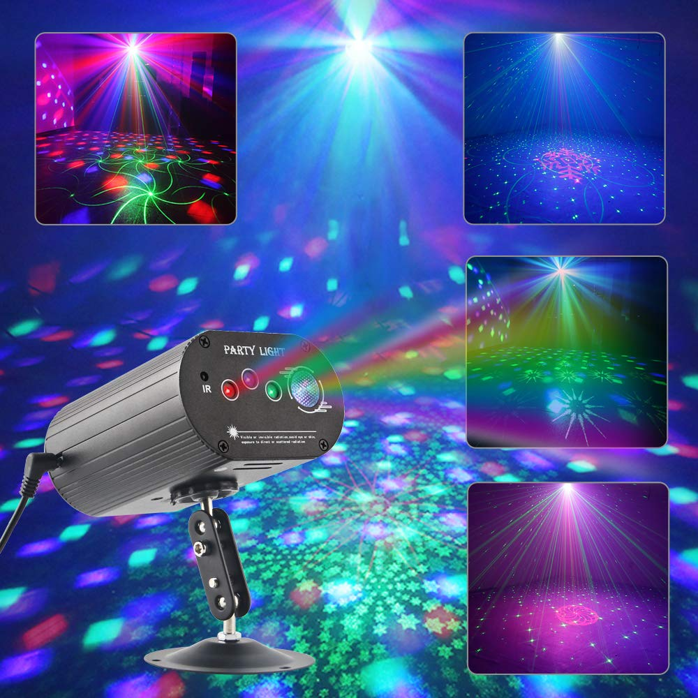 CHINLY Party Lights RGB DJ Disco Stage Laser Light Sound Activated Led Projector