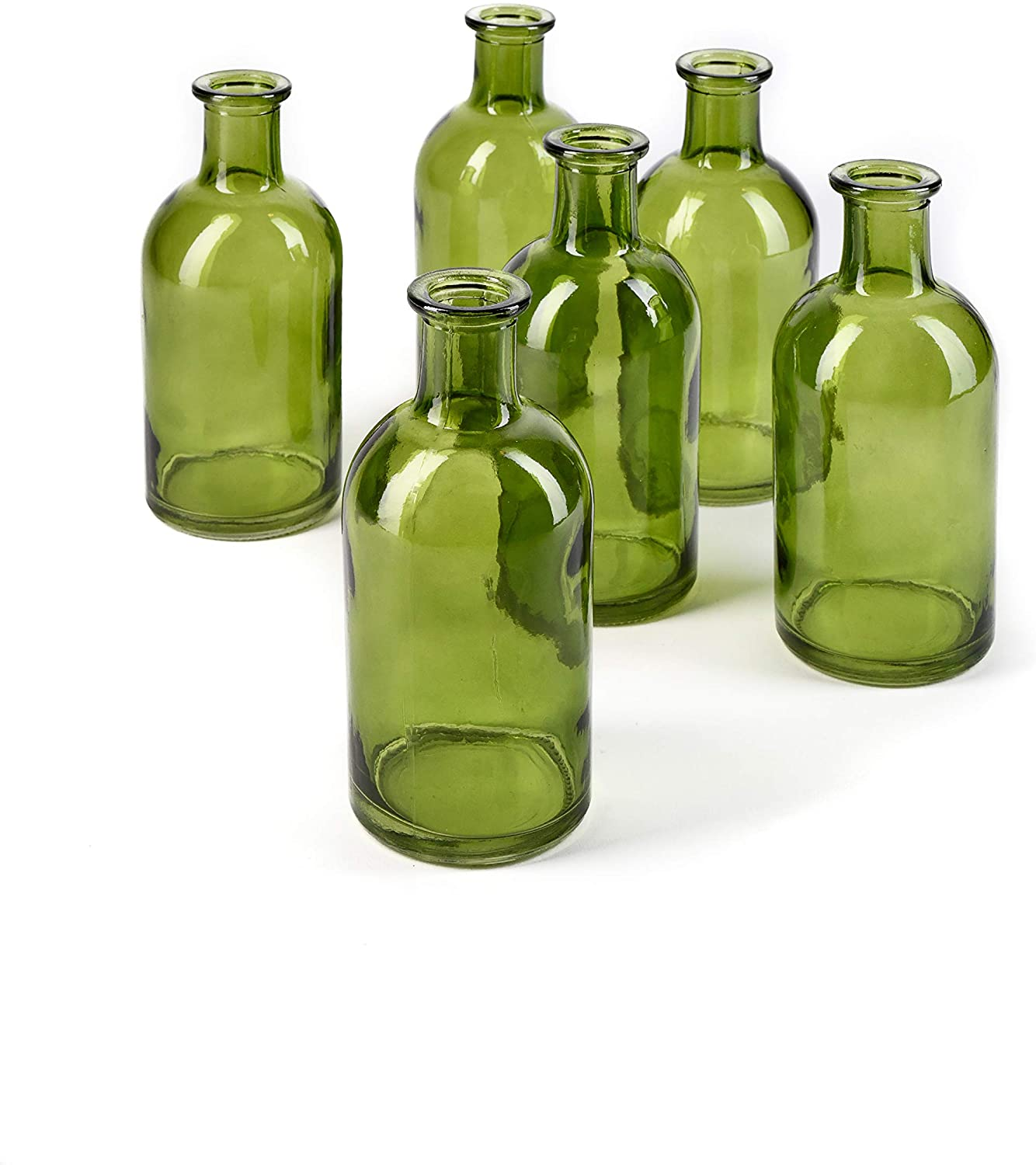 Serene Spaces Living Bud Vases, Apothecary Jars, Decorative Glass Bottles, Centerpiece for Wedding Reception, Mini Flower Vases, Small Medicine Bottles for Home Decor (Dark Green, Set of 6)