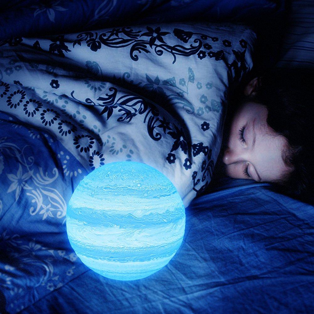 Surenhap Lámpara de Júpiter Dos Colorido con USB de Carga de Decoración LED Lámpara de Escritorio de Control Táctil Cambio de Color Decoración del hogar Adecuado para Varias Ocasiones 10 CM